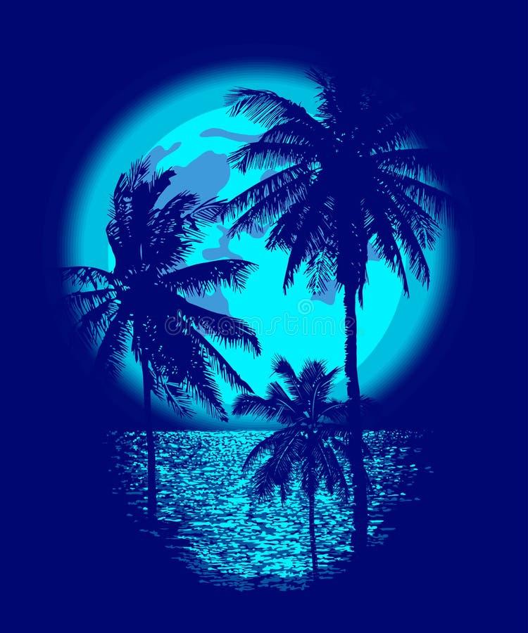 Luna piena tropicale illustrazione di stock