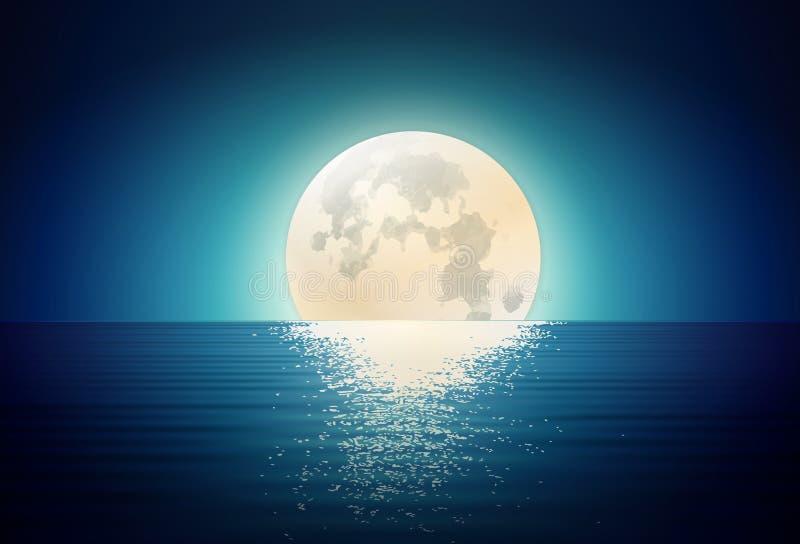 Luna que sube fuera del mar, paisaje de Fuul de la noche ilustración del vector