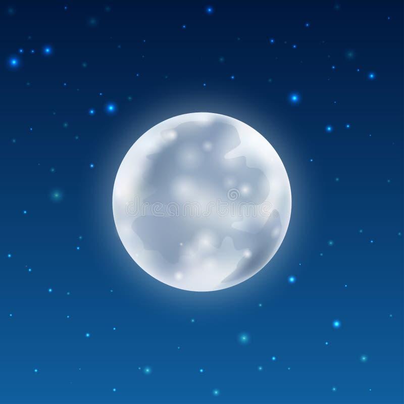 Luna realista que brilla intensamente llena con las estrellas ilustración del vector
