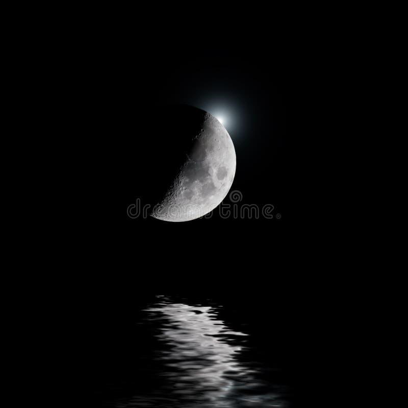 Luna retroiluminada con la estrella blanca sobre el agua foto de archivo libre de regalías