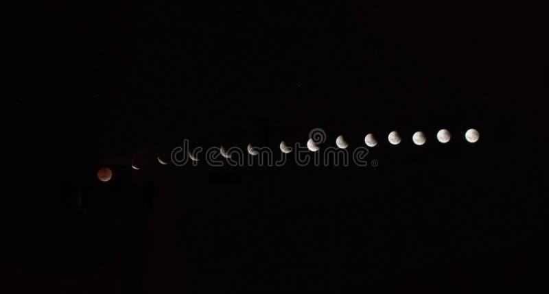 Luna sangrienta: El eclipse lunar total de 2019 imágenes de archivo libres de regalías