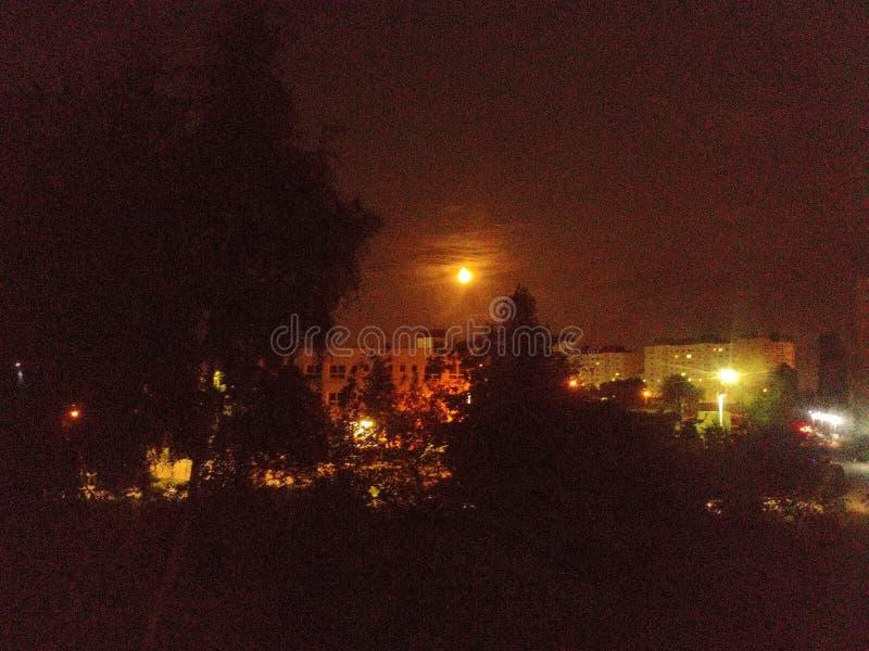 Luna sangrienta en Gdansk foto de archivo