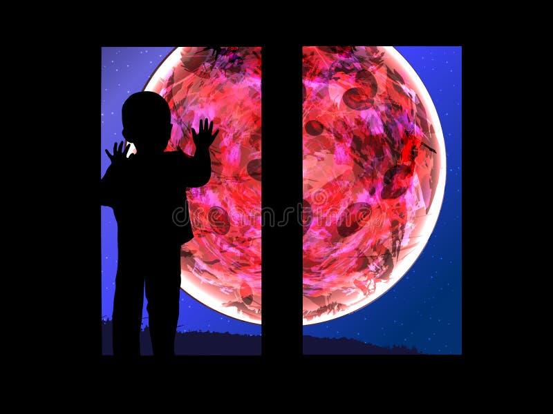 Luna sanguinante Eclissi lunare e illustrazione di stock