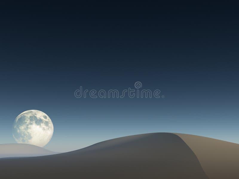 Luna sobre derivas de arena imagen de archivo libre de regalías