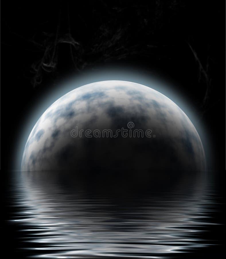 Luna sopra acqua illustrazione di stock