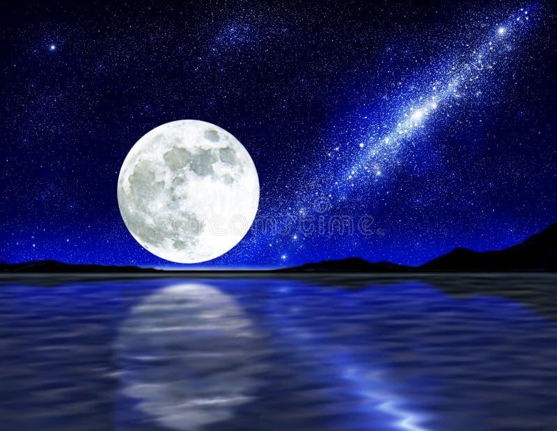 Luna sopra acqua royalty illustrazione gratis