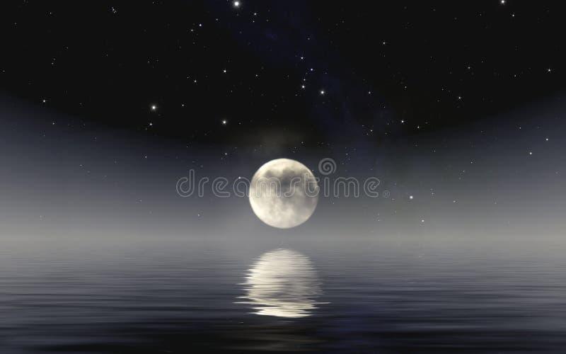 luna sopra il mare immagine stock