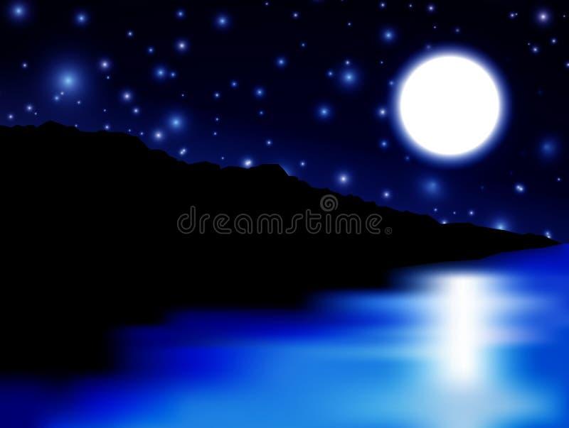 Luna sopra il mare e l'isola illustrazione vettoriale