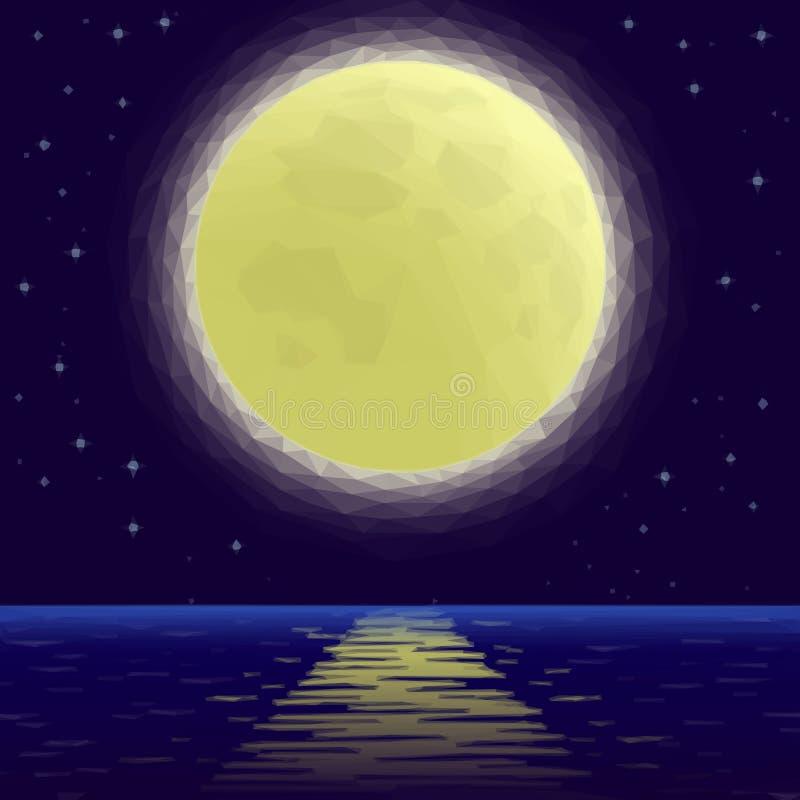 Luna sopra il mare, poli basso royalty illustrazione gratis