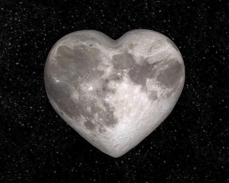 Luna sotto forma di un cuore fotografia stock libera da diritti
