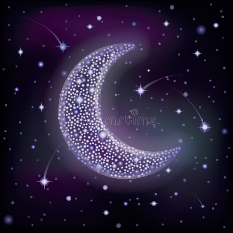 Luna stellata in cielo notturno, vettore illustrazione di stock