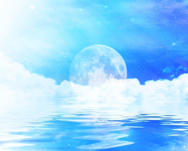 Luna sull'orizzonte dell'oceano illustrazione di stock