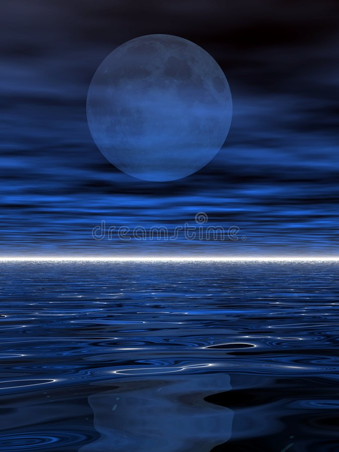 Download Luna surreale ed acqua illustrazione di stock. Illustrazione di orizzonte - 3887149