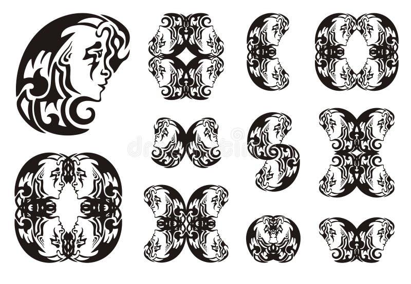 Luna tribal y símbolos de la muchacha de ella libre illustration