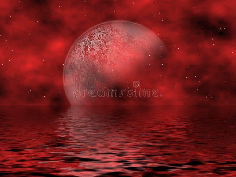 Luna y agua rojas ilustración del vector
