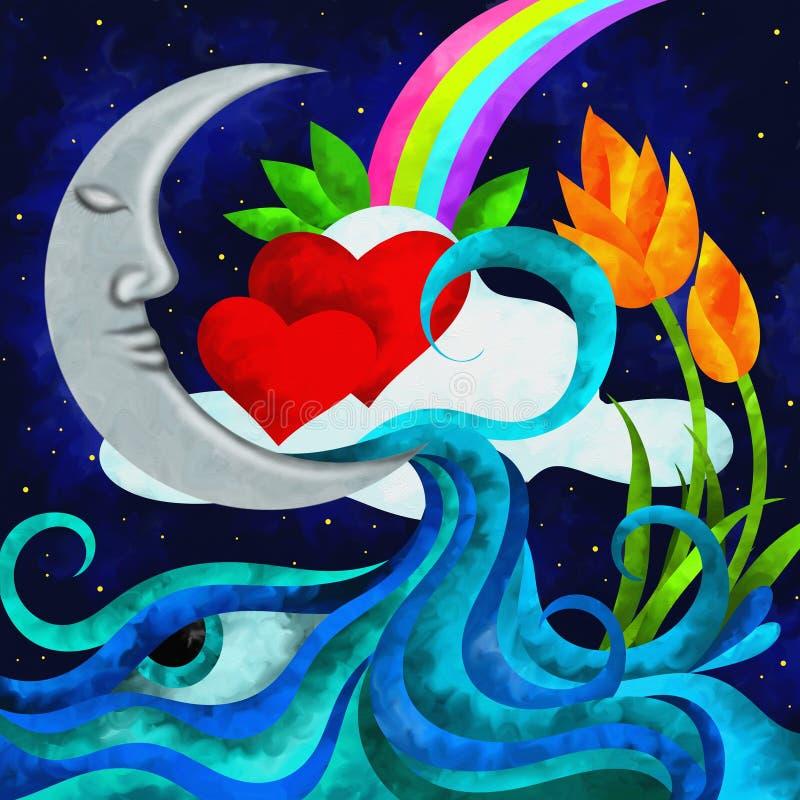 Luna y corazón stock de ilustración