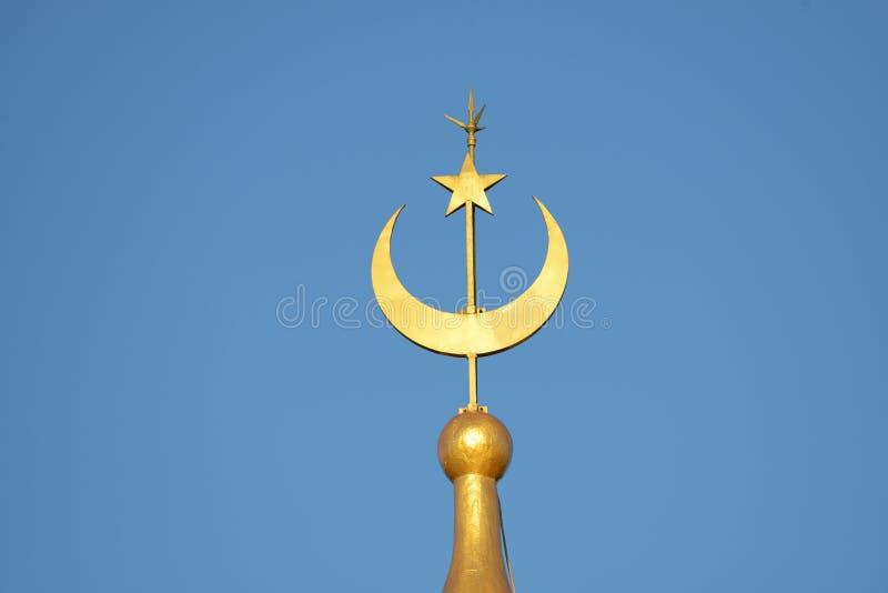 Luna y estrella de una mezquita foto de archivo libre de regalías