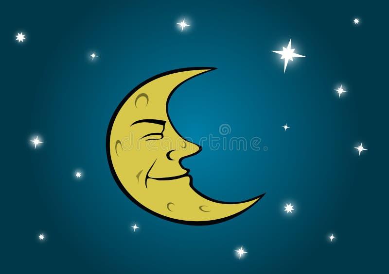 Download Luna y estrellas stock de ilustración. Ilustración de noche - 7275529