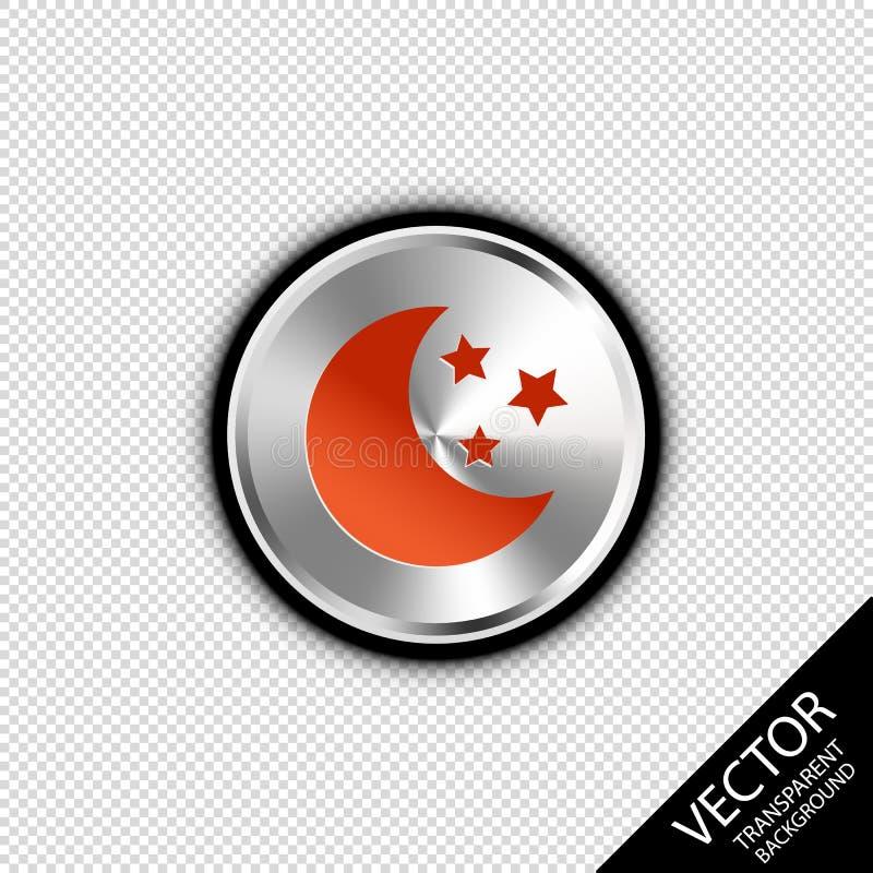 Luna y estrellas en el botón metálico de plata - ejemplo del vector - aislado en Blackground transparente ilustración del vector