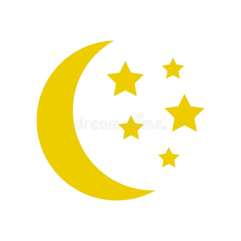 Luna y estrellas, icono amarillo del sueño Vector ilustración del vector