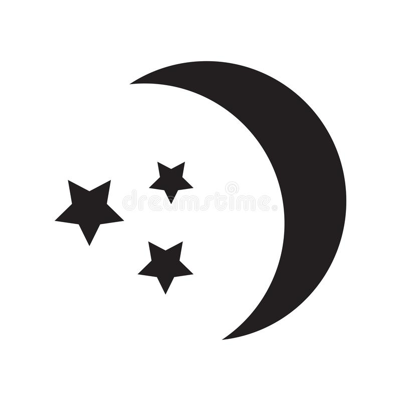 Luna y estrellas, icono negro del sueño, siluetas Vector stock de ilustración