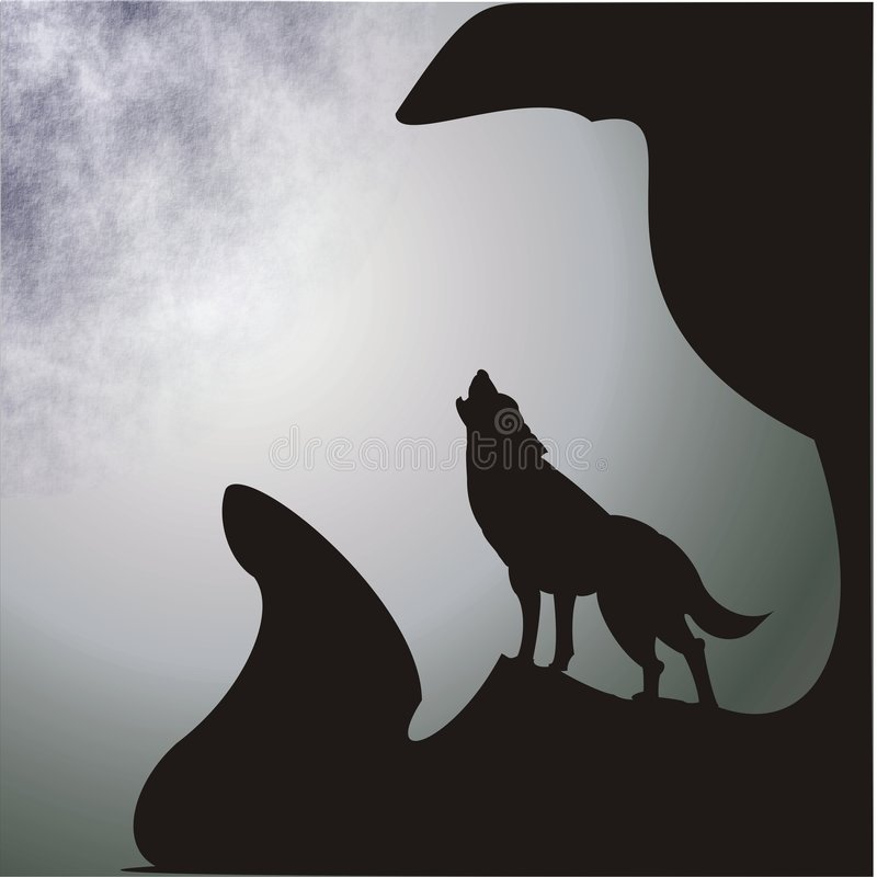 Luna y lobo stock de ilustración