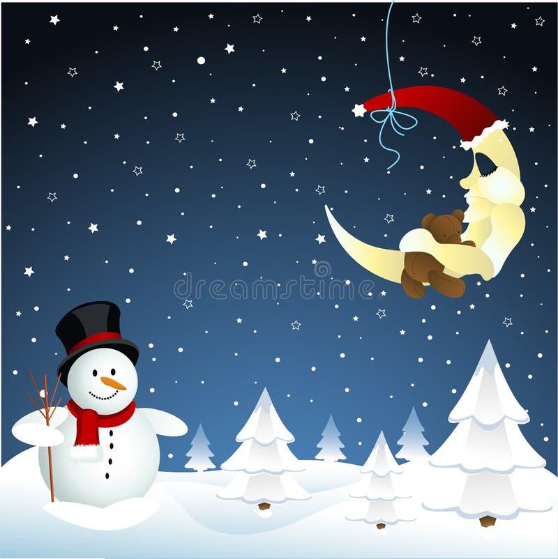 Luna y muñeco de nieve, invierno stock de ilustración