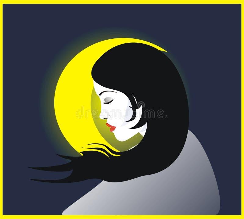 Luna y muchacha stock de ilustración