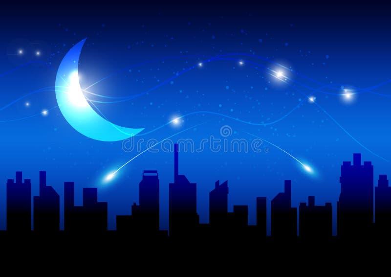 Luna y noche de la ciudad ilustración del vector