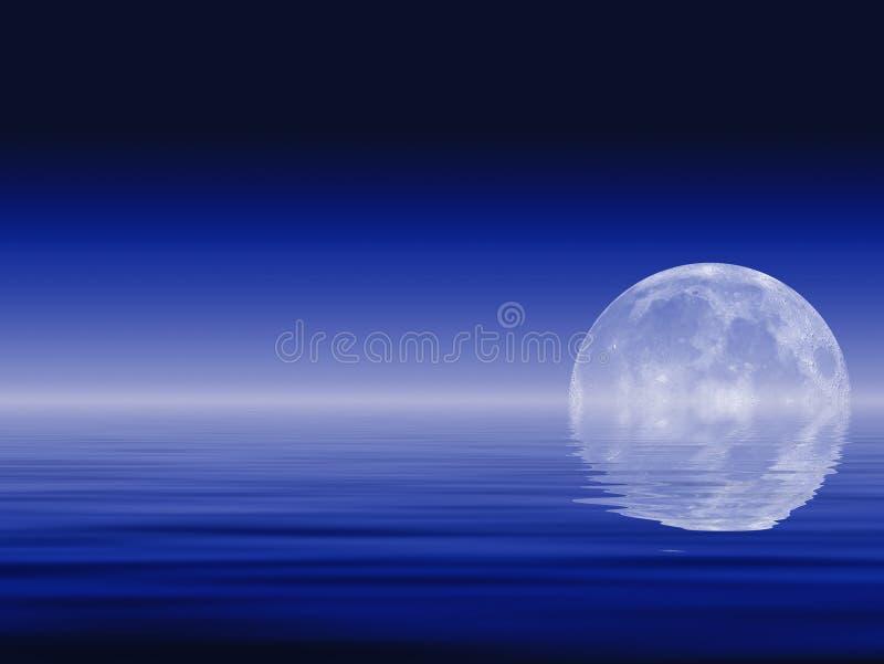 Luna y océanos stock de ilustración