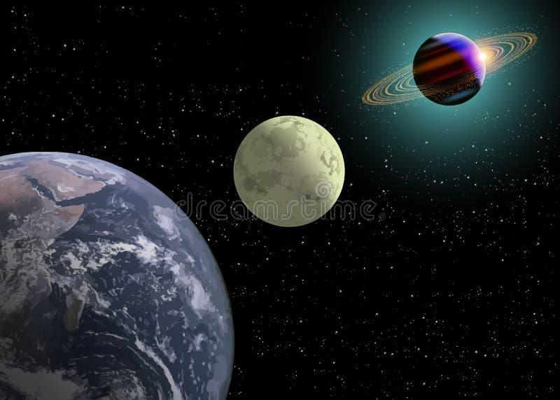 Luna y Saturno de la tierra con un nuevo Sun ilustración del vector