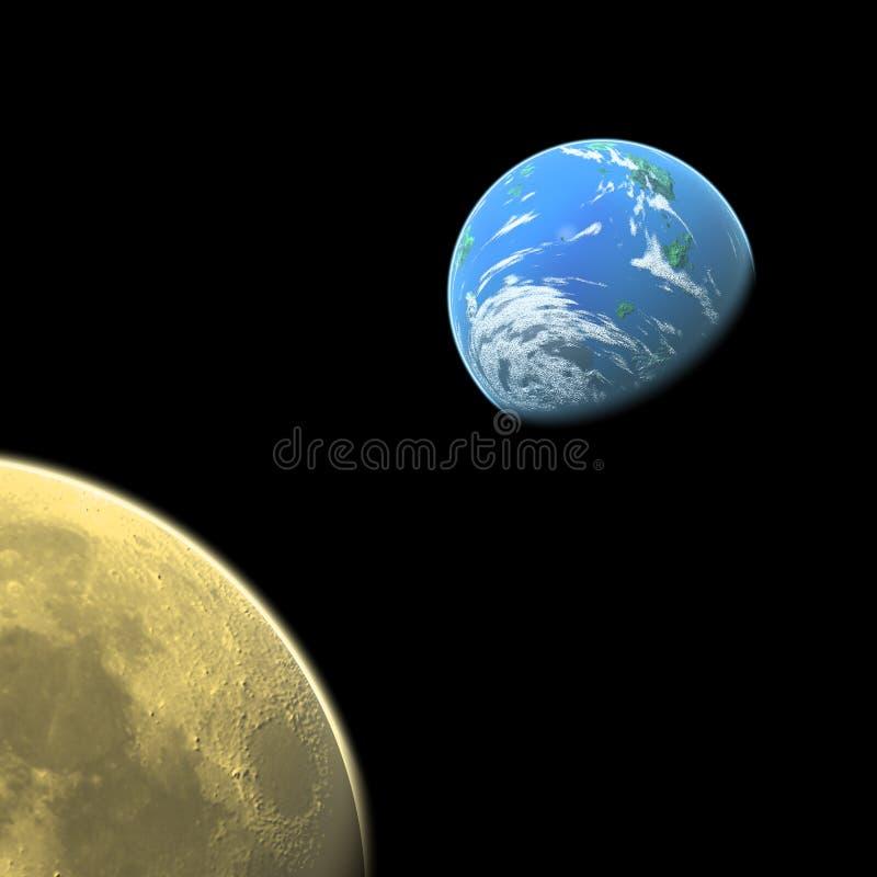 Luna y tierra stock de ilustración