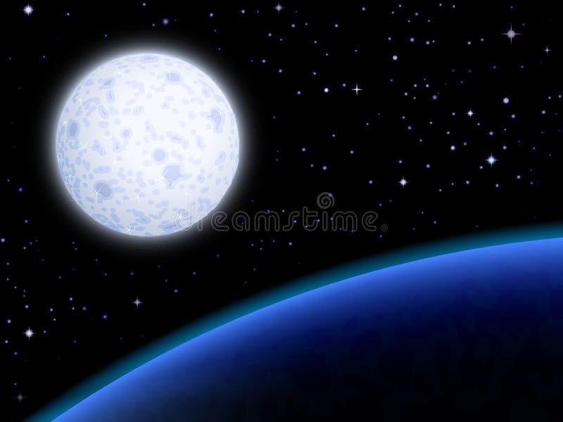 Luna y un planeta azul ilustración del vector