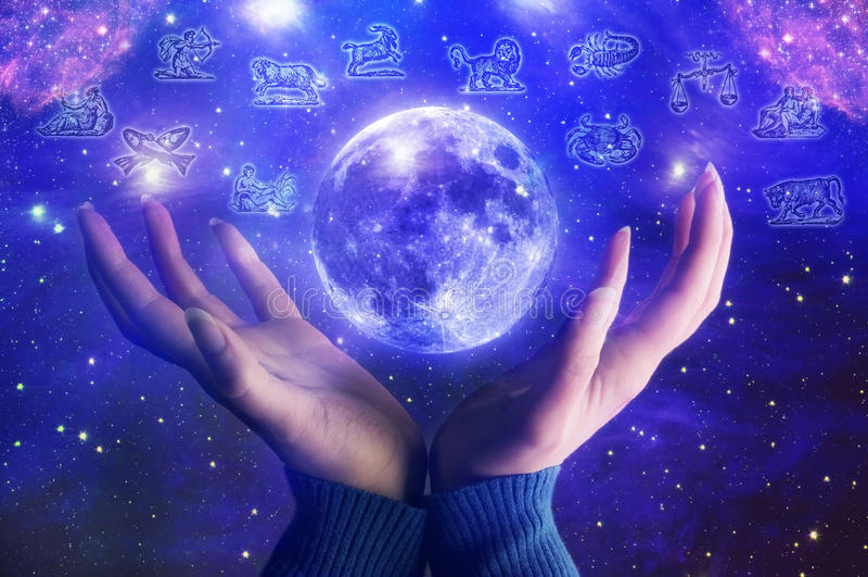lunar astrologi royaltyfri illustrationer