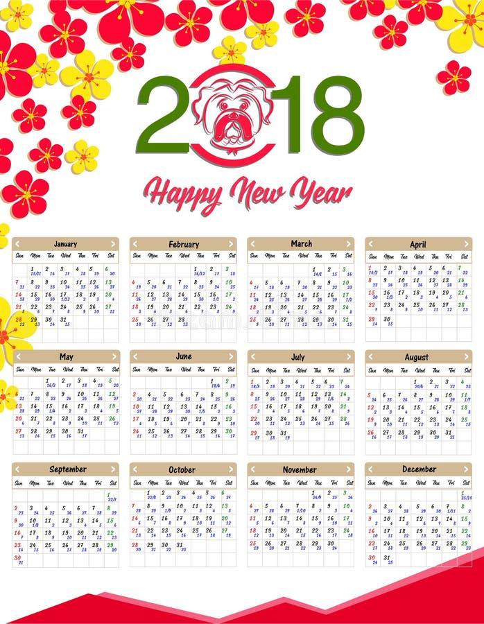 november dog 2018 year calendar stock vector