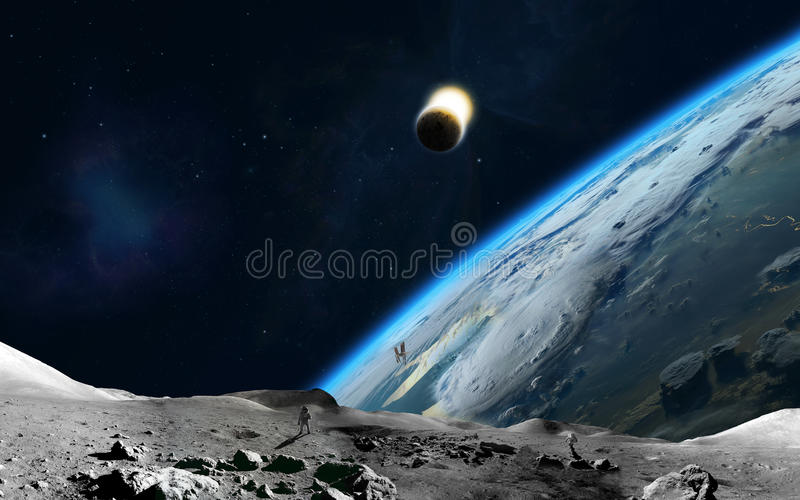 Download Lunar and Earth stock illustration. Illustration of light - 35235412