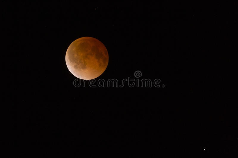 Lunar Eclipse Blood Moon Tetrad Passover. This is a photograph of the Lunar Eclipse Blood Moon moving out of its maximum stage at 3:00am Central Time stock images