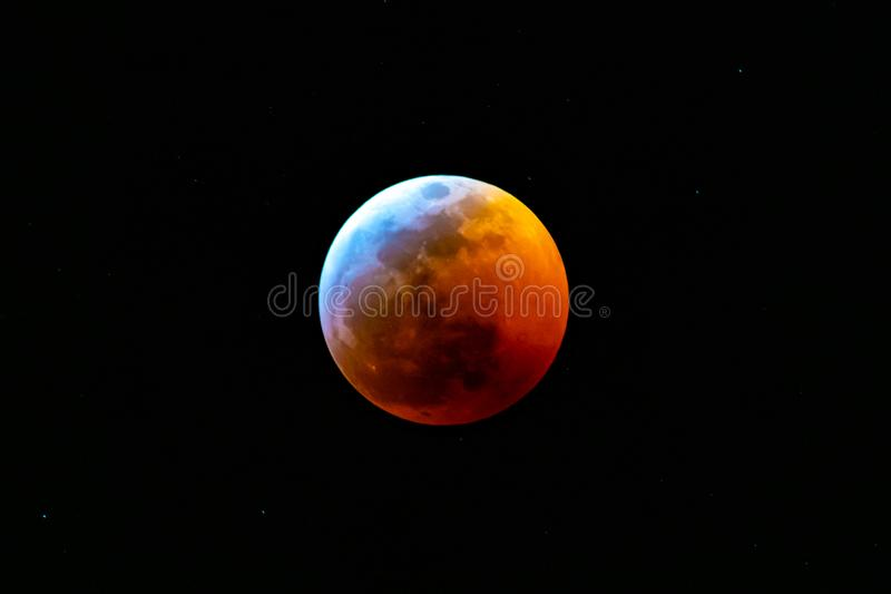Lunar Eclipse January 2019 stock photo