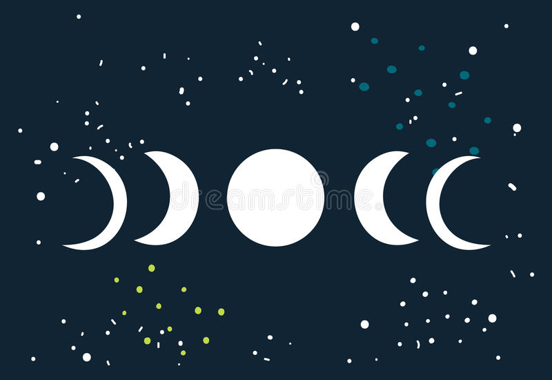 Lunar eclipse Moon phases circle with stars space background vector illustration