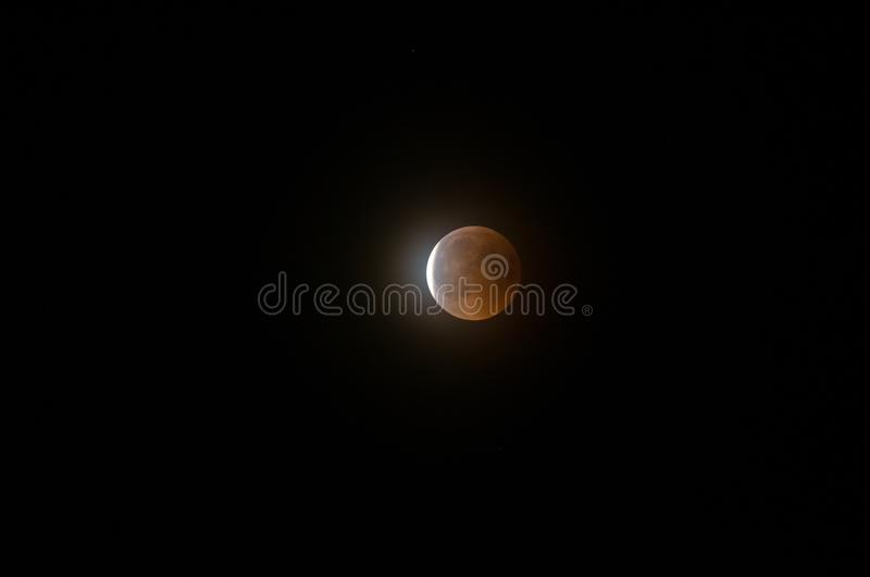 Lunar eclipse, Moon eclipse Krempna, Poland July 2018. A lunar eclipse occurs when the Moon passes directly behind Earth and into its shadow.[1] This can occur stock image