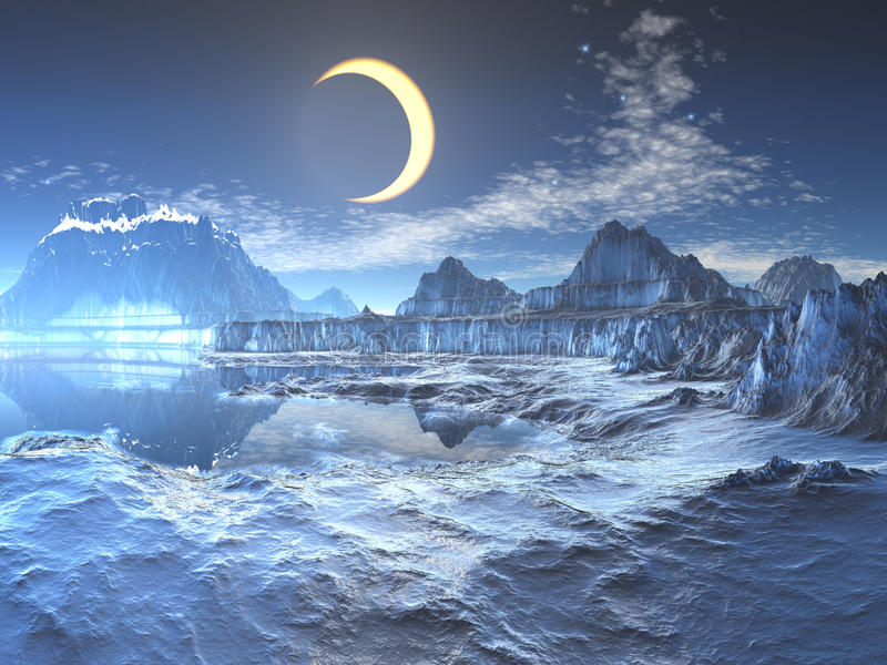 Lunar Eclipse over Frozen Planet. A stunning lunar eclipse illuminates the frozen landscape of almost perfect blue ice and snow on a planet where it is always stock illustration