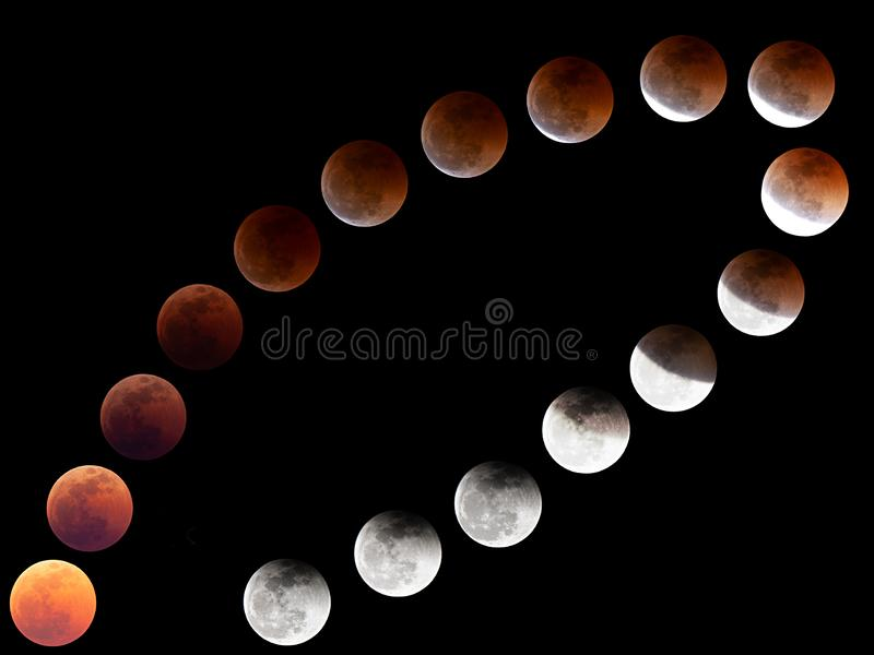 Lunar eclipse from Poland in 2018 stock photography
