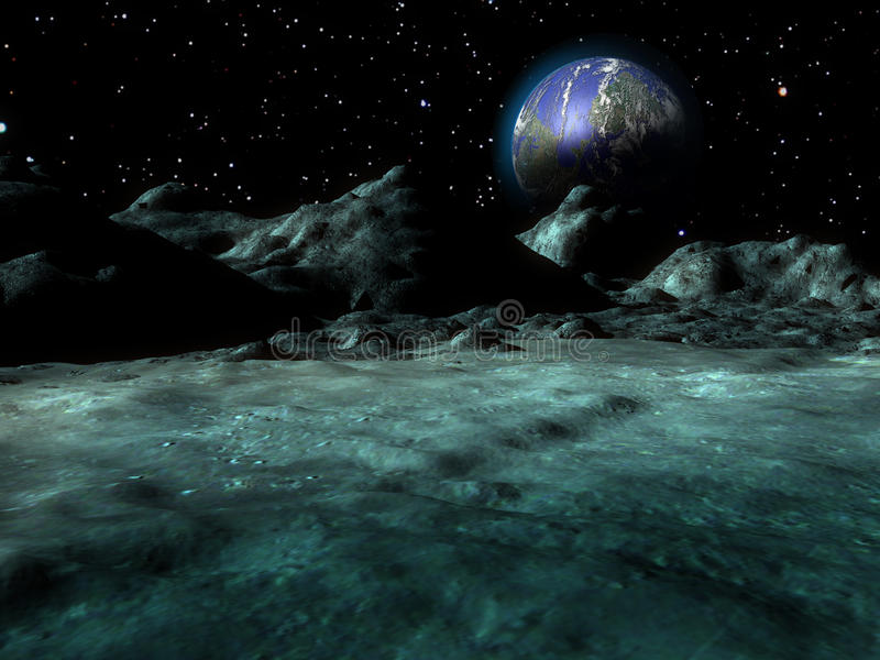 Lunar landscape. Earth-rise. The Earth as seen from the interior of a lunar crater stock illustration