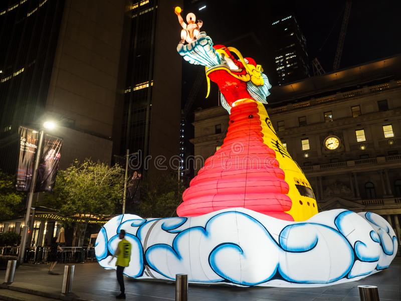 Lunar Lantern `The mystical Dragon` is zodiac symbol of Dragon will be illuminated from dusk at Circular Quay by Artist Guan Wei. royalty free stock photo