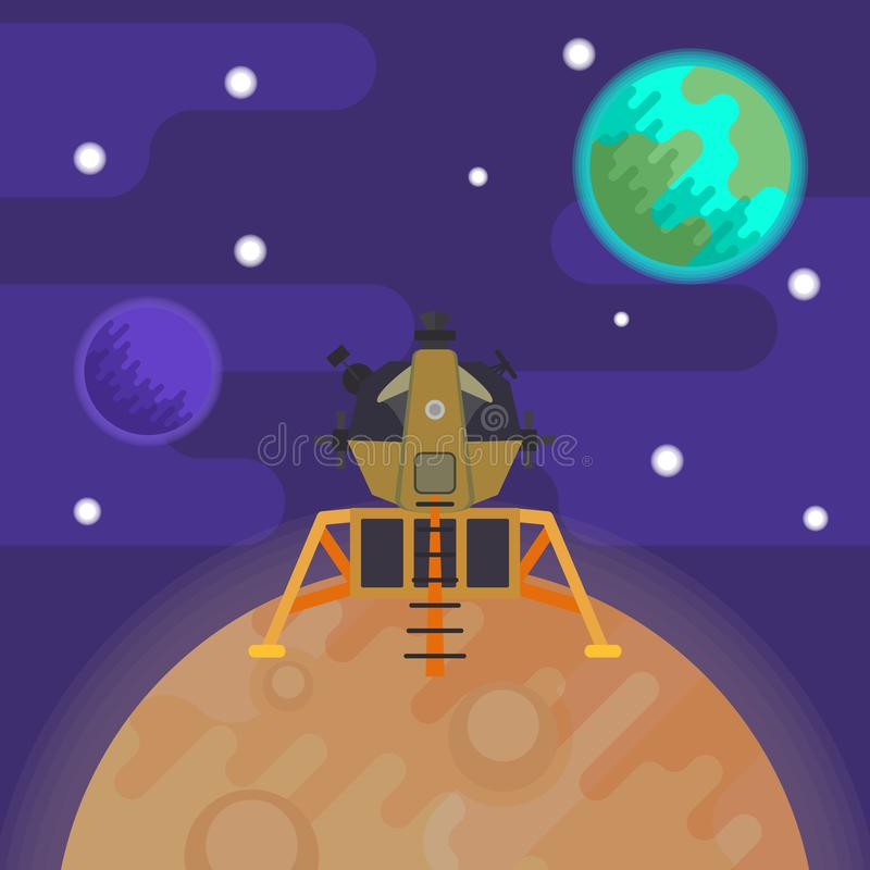 Lunar module on the surface of the moon against the background of space and view of the Earth. Vector flat illustration vector illustration