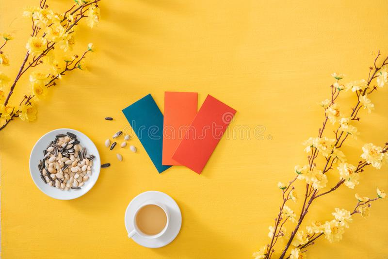 Lunar New Year decoration on a yellow gold background. Tet holiday.  stock images