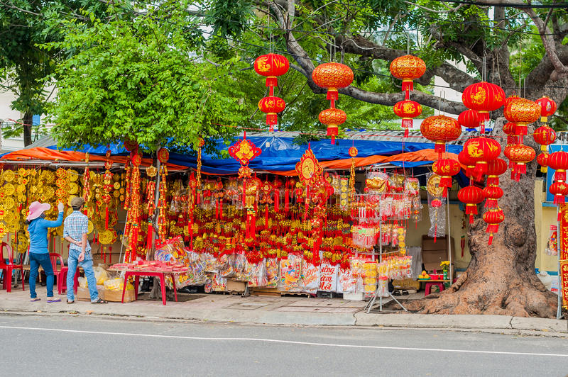 Lunar new year lucky decoration objects. words mean best wishes and good luck for the coming vietnamese new year.  stock image