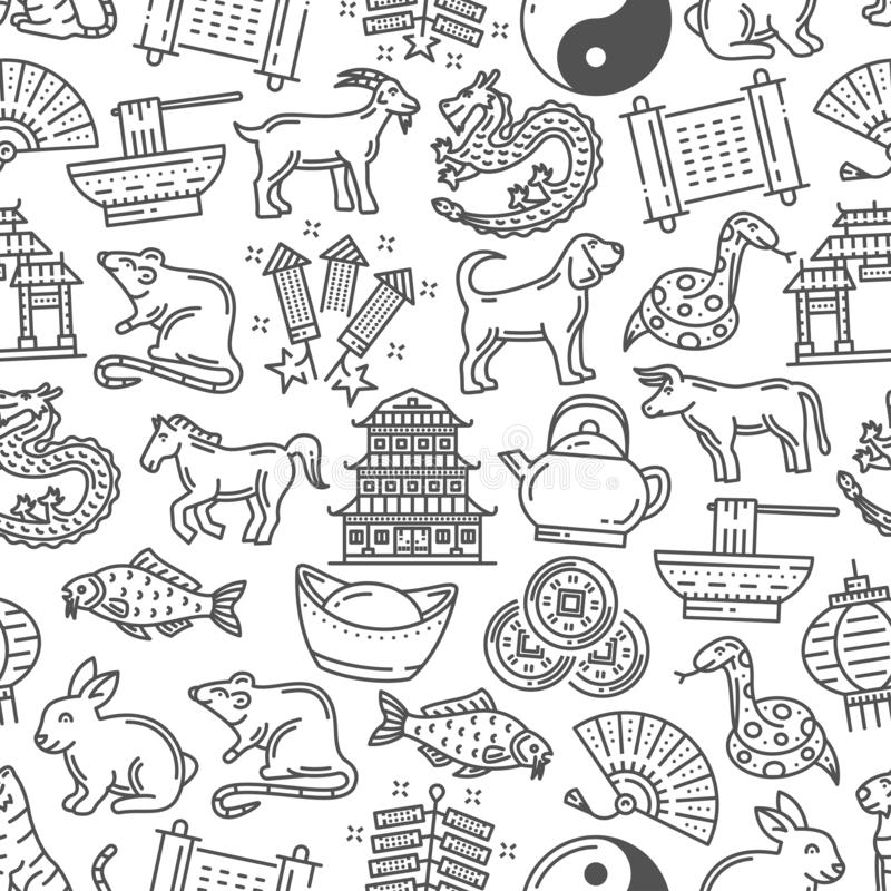 Lunar New Year symbols seamless pattern stock illustration