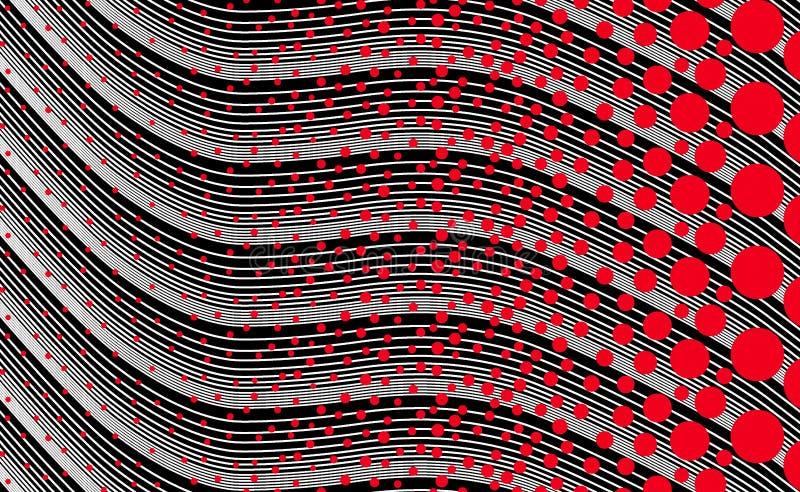 Lunar rojo geométrico con el fondo negro de la onda stock de ilustración