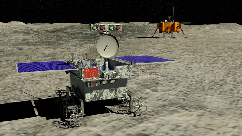 Lunar rover Yutu 2 rolling across the surface of the moon beginning the exploration with the China`s Chang e 4 lunar probe. In the background. 3D illustration vector illustration